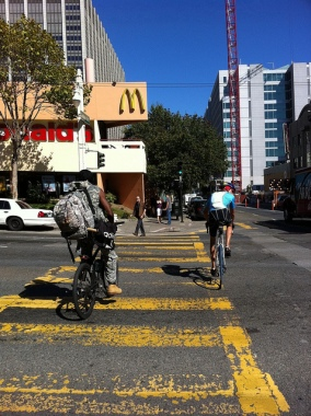 Invisible and visible cyclists (San Francisco)